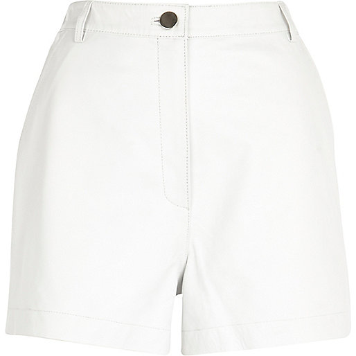 White leather high waisted shorts