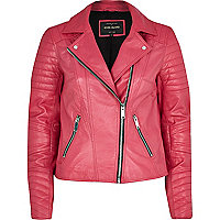Dark pink leather biker jacket