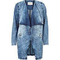 Acid wash denim longline waterfall jacket
