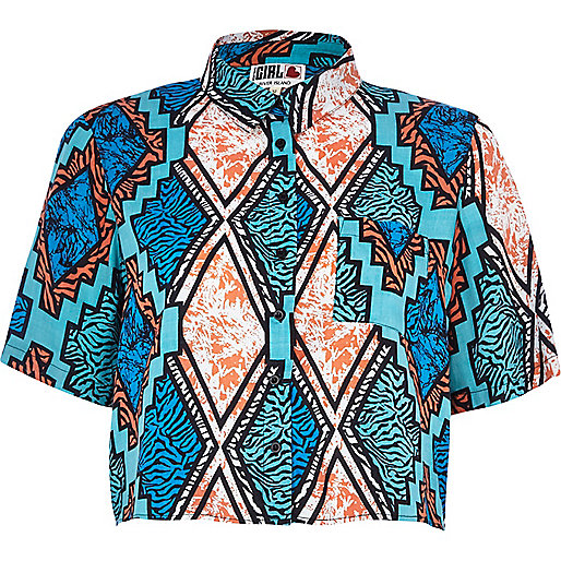 Blue Chelsea Girl Aztec print shirt