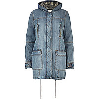 Light wash denim parka jacket