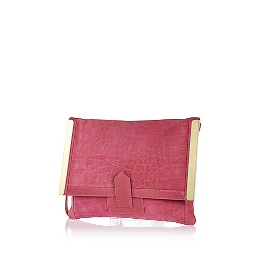 Pink snake suede metal trim clutch bag