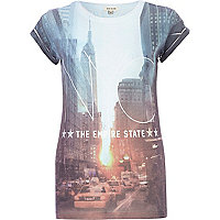 Blue NYC Empire State print t-shirt