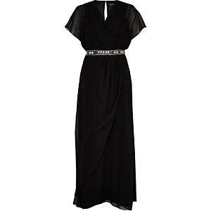 Black embellished waist draped maxi dress