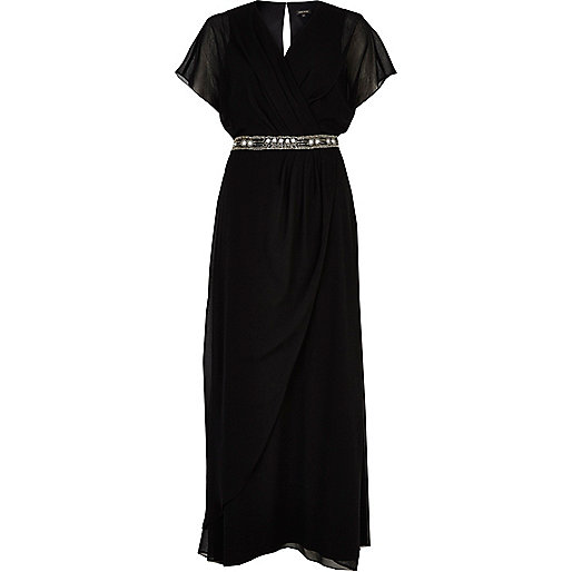 Black embellished waist draped maxi dress