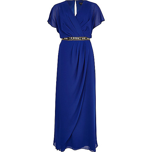 Blue embellished waist draped maxi dress