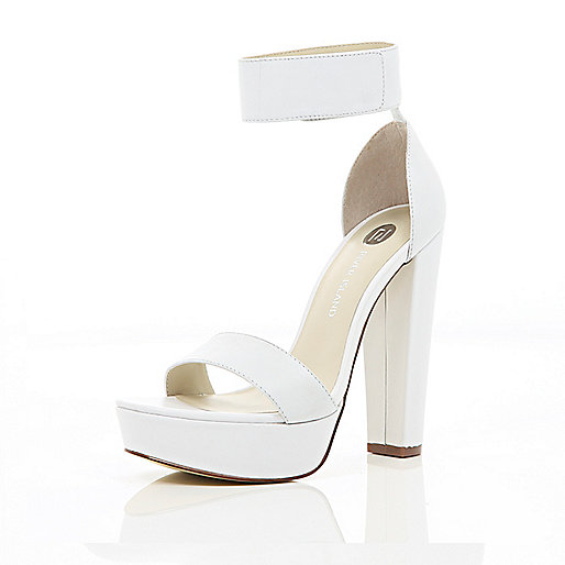 White chunky platform barely there sandals
