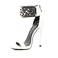 White metal cuff barely there sandals