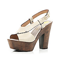 Cream cross strap wooden platform sandals