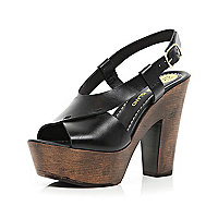 Black cross strap wooden platform sandals
