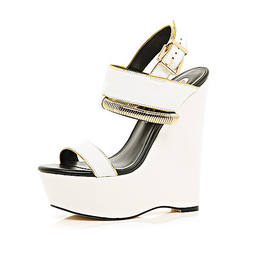 White slinky bracelet trim wedges