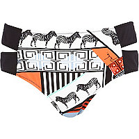 Orange Pacha abstract cut out bikini bottoms