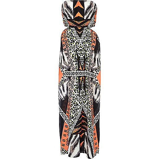 Orange animal print cut out maxi dress