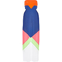Pink colour block cut out bandeau maxi dress