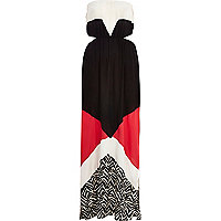 Black colour block cut out bandeau maxi dress