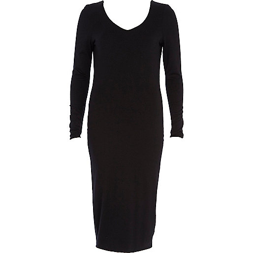 Black V neck long sleeve column dress