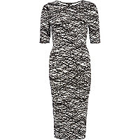 Black and white scribble print column dress
