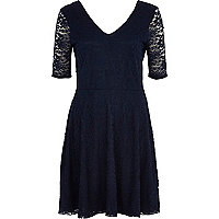 Navy lace V neck skater dress