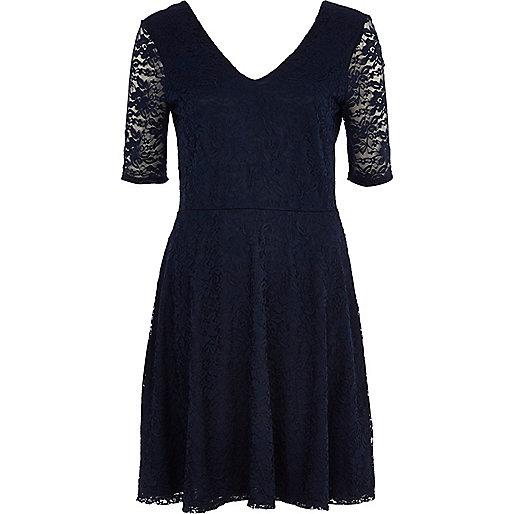 Navy lace V neck skater dress