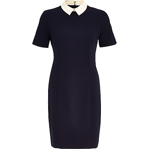 Navy contrast collar shift dress