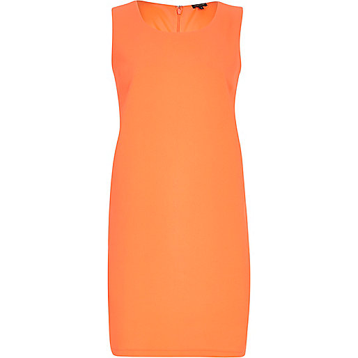 Bright coral sleeveless shift dress