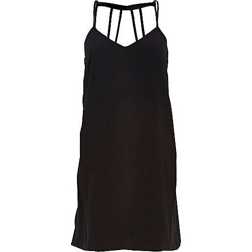 Black strappy cut out back slip dress