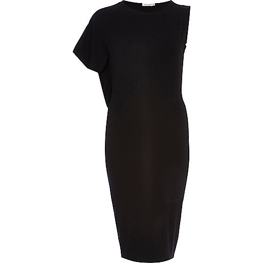 Black asymmetric midi pencil dress