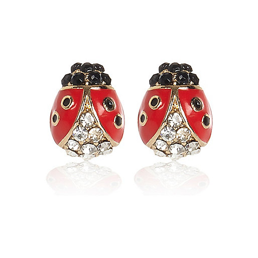 Red encrusted ladybird stud earrings