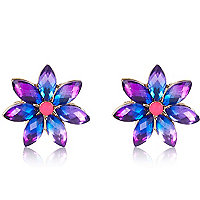 Purple rainbow flower stud earrings