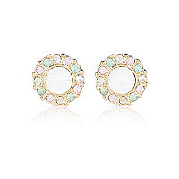 Gold tone gem stone stud earrings