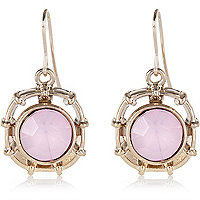 Light pink single stone drop earrings