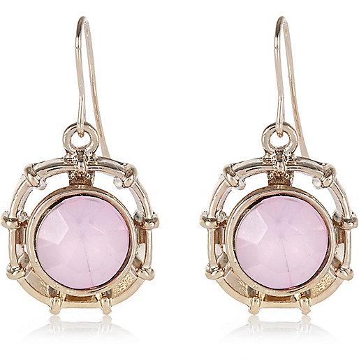 Light pink single stone drop earrings