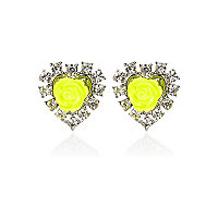 Yellow fluro rose diamante stud earrings