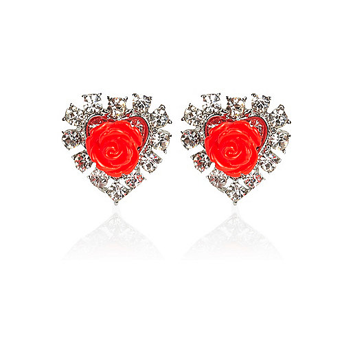 Red rose diamante stud earrings
