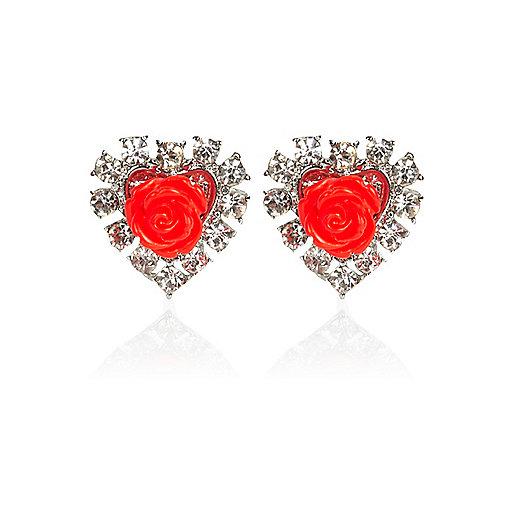 Red rose diamante stud earrings