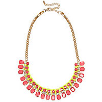 Pink fluro gem stone statement necklace