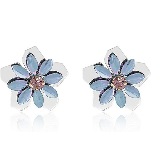 White mirrored flower stud earrings