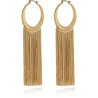 Gold tone chain tassel hoop earrings
