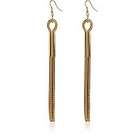 Gold tone slinky chain drop earrings