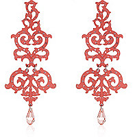 Coral diamante cut out drop earrings