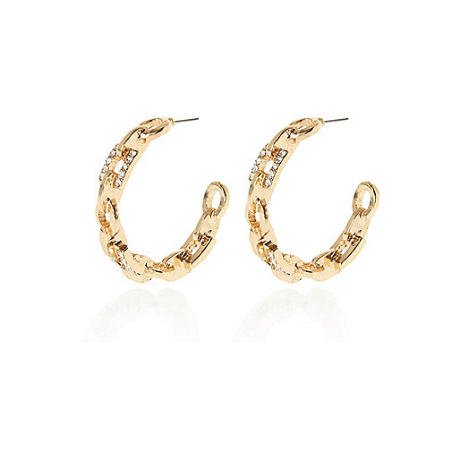 Gold tone diamante chain hoop earrings