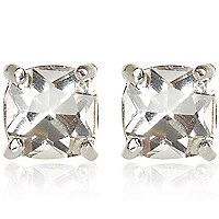 Gold tone crystal stud earrings