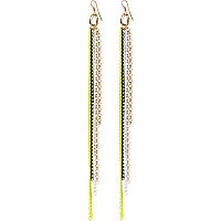 Yellow fluro chain tassel earrings