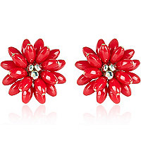 Red oversized gem stone flower stud earrings