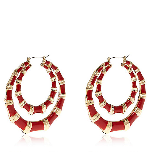 Red double creole hoop earrings