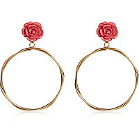 Pink rose hoop drop earrings