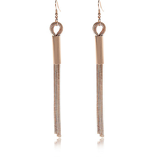 Rose gold tone slinky chain drop earrings