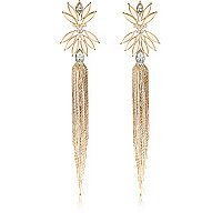 Gold tone chain tassel drop earrings