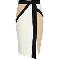 White colour block pencil skirt