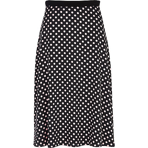 Black polka dot crepe midi skirt